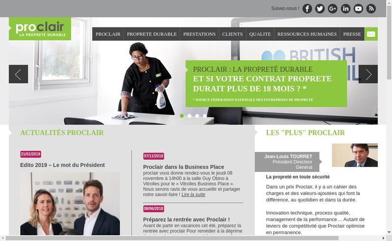 Capture d'écran du site de Proclair