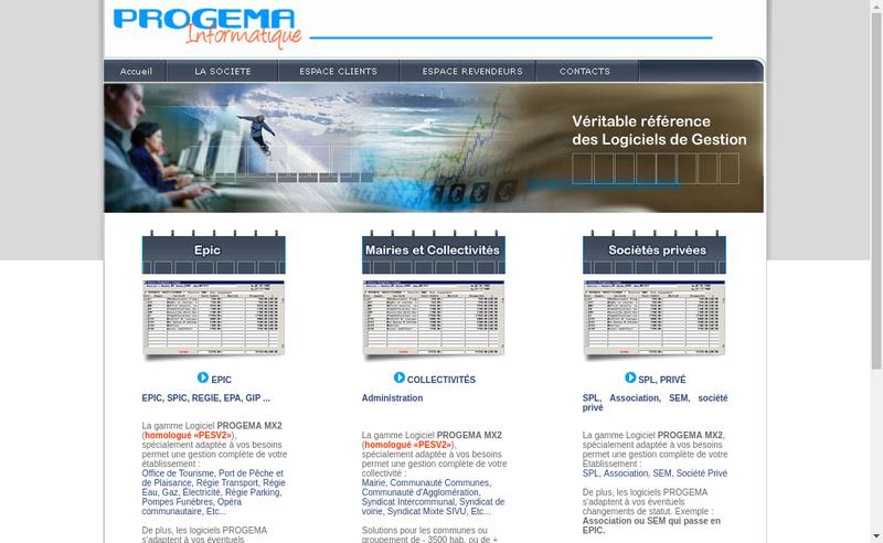 Capture d'écran du site de Progema