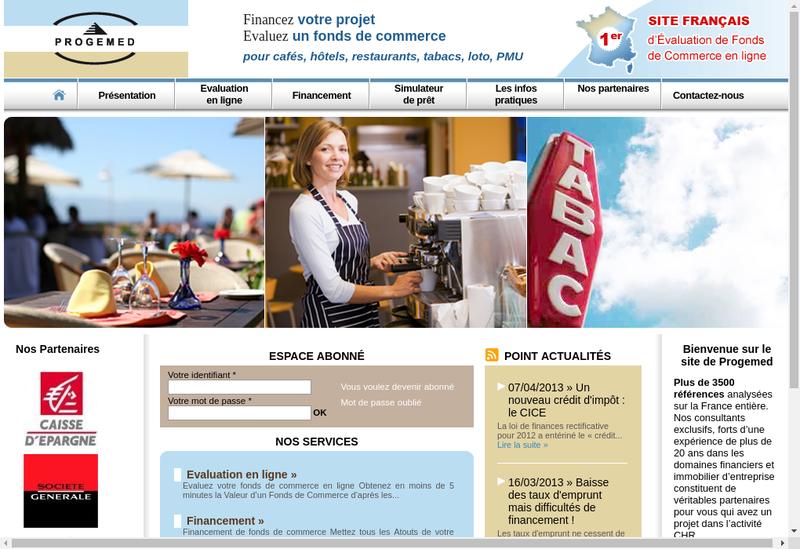 Capture d'écran du site de Progemed