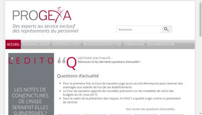 Capture d'écran du site de Progexa