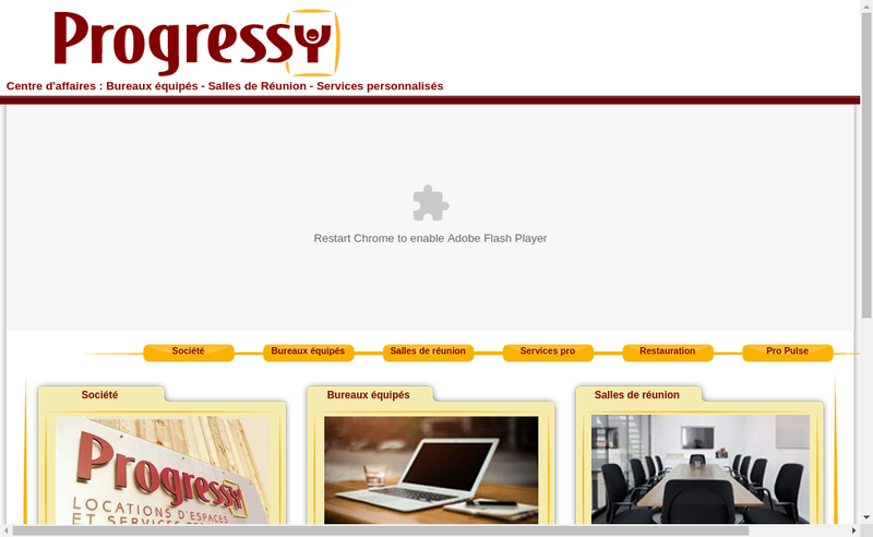 Capture d'écran du site de Progressy