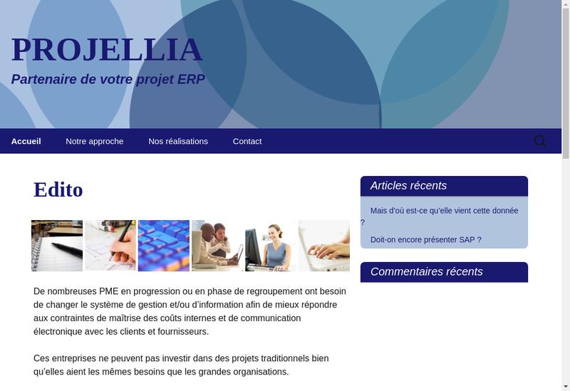 Capture d'écran du site de Projellia