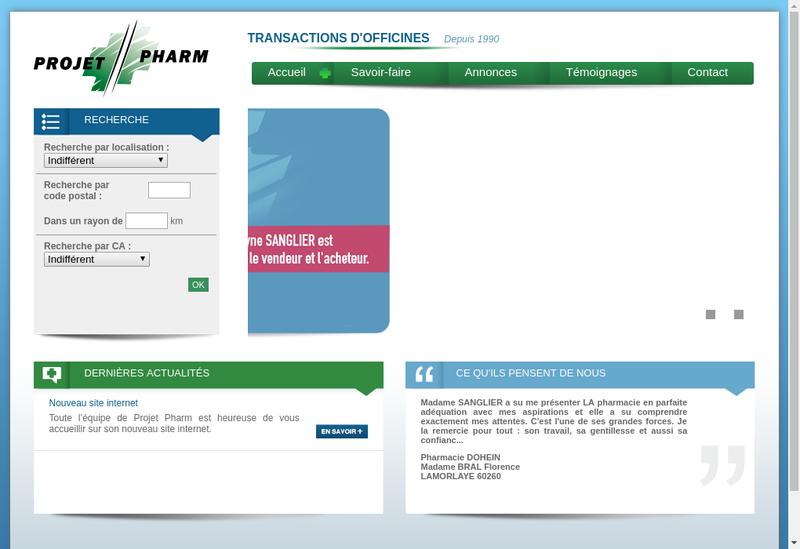 Capture d'écran du site de Projet Pharm