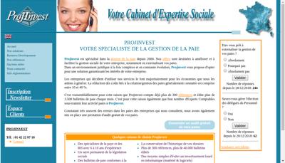 Capture d'écran du site de Projinvest Services