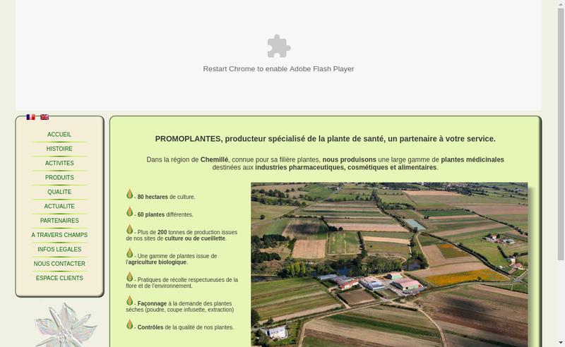 Capture d'écran du site de Promoplantes