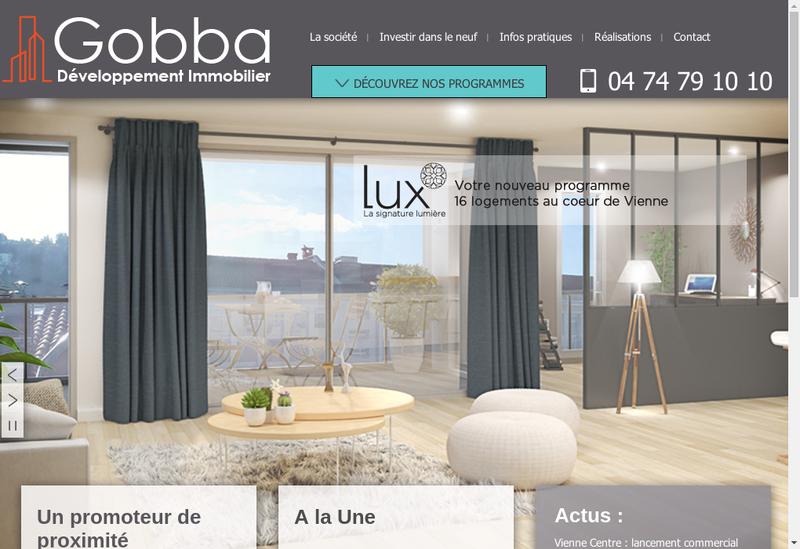 Capture d'écran du site de Gobba Developpement Immobilier