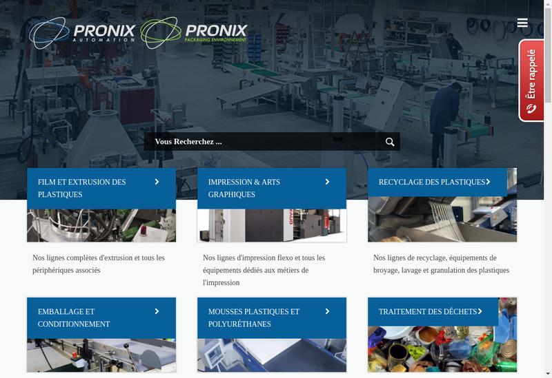 Capture d'écran du site de Pronix