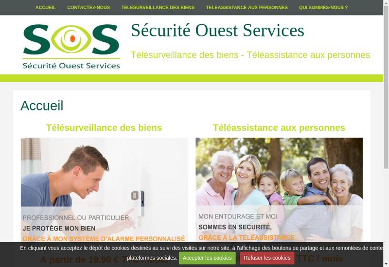 Capture d'écran du site de Securite Ouest Services