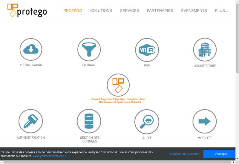 Capture d'écran du site de Protego Informatique