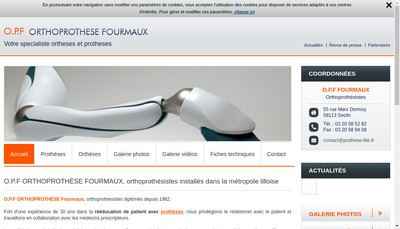 Site internet de Ortheses Protheses Fourmaux