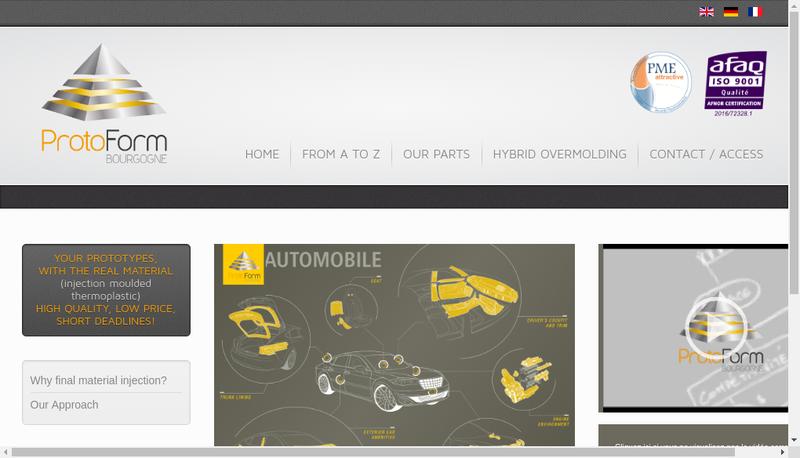 Capture d'écran du site de Protoform Bourgogne