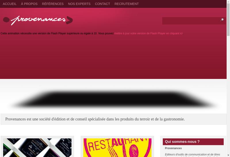 Capture d'écran du site de Provenances