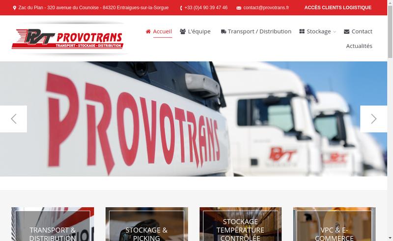 Capture d'écran du site de Provotrans