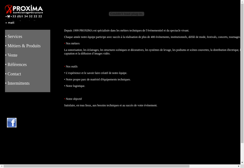Capture d'écran du site de Proxima SES