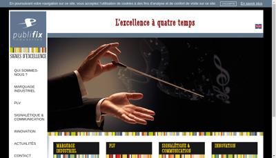 Capture d'écran du site de Publifix Industries