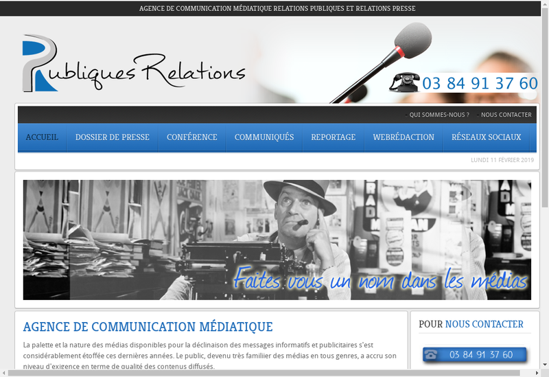 Capture d'écran du site de Click Up Communication