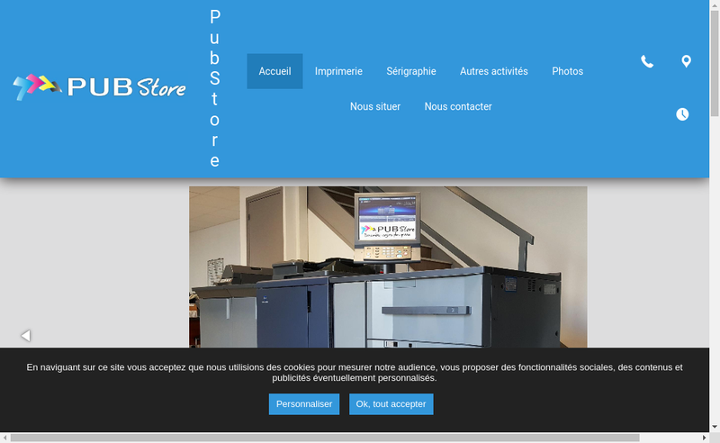 Capture d'écran du site de Pub Store