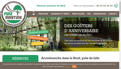 Capture d'écran du site de Pure Aventure