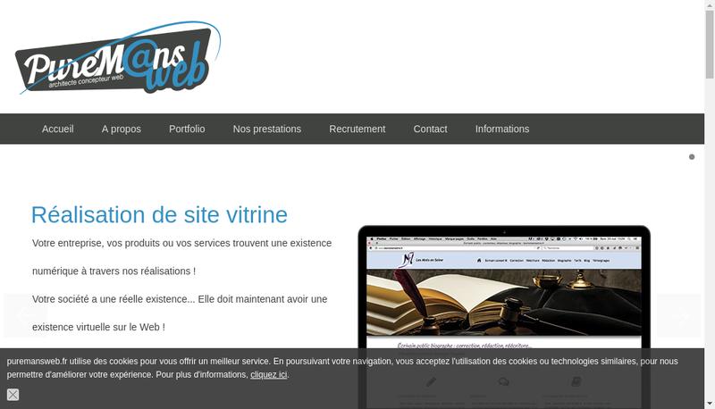 Capture d'écran du site de Pure Mans Web