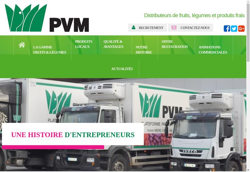 Capture d'écran du site de PVM