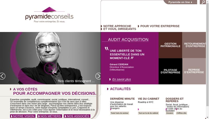 Capture d'écran du site de Pyramide Conseils