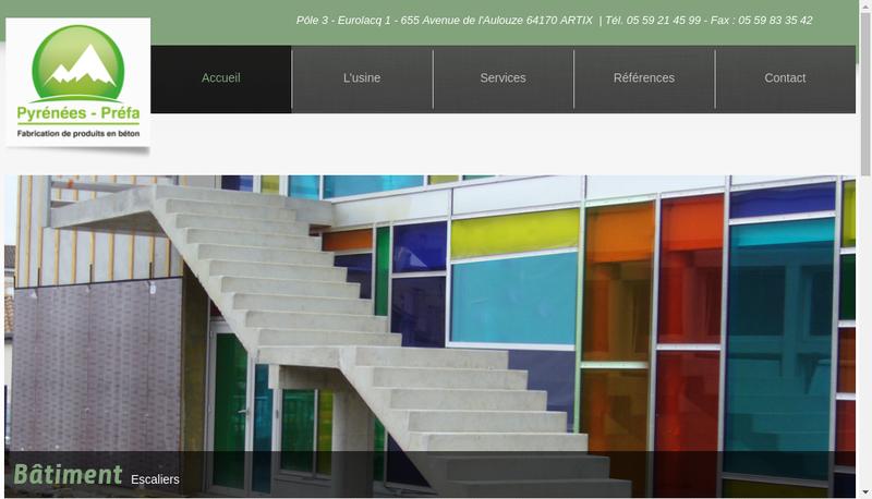 Capture d'écran du site de Pyrenees Prefa