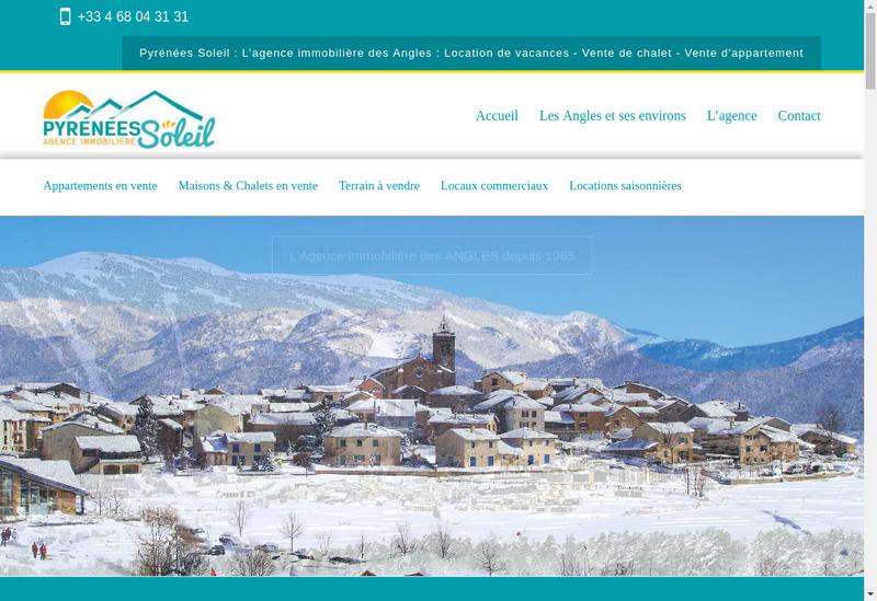 Capture d'écran du site de Agence Pyrenees Soleil