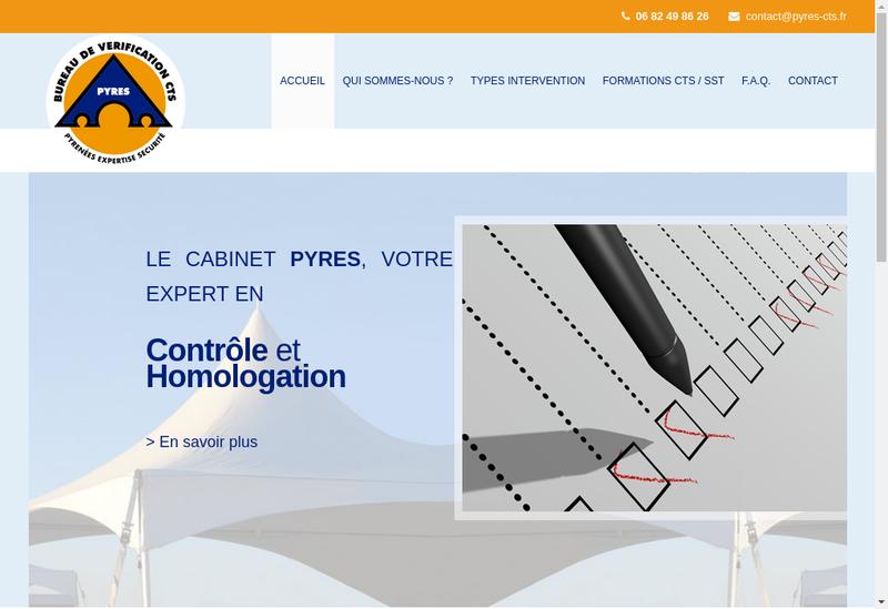 Capture d'écran du site de SARL Pyres