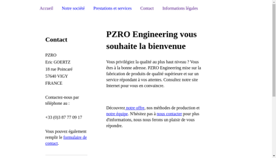 Capture d'écran du site de Pzro Engineering et Pzro Automotive