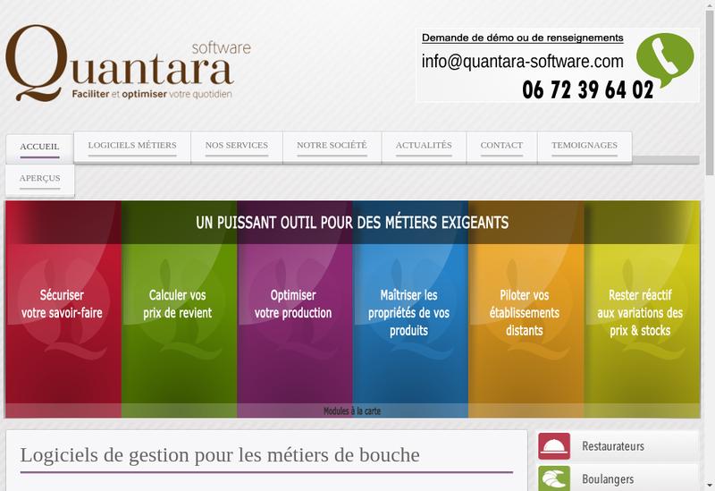 Capture d'écran du site de Quantara Software