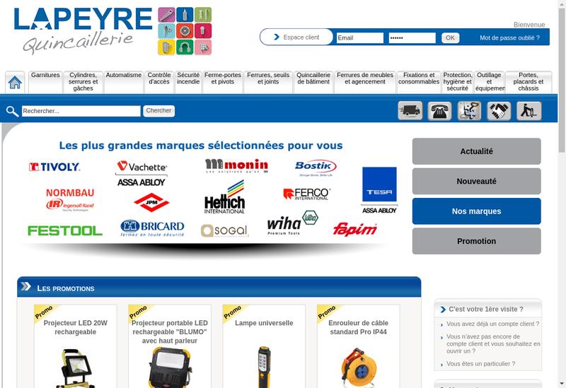 Capture d'écran du site de Etablissements Lapeyre Quincaillerie