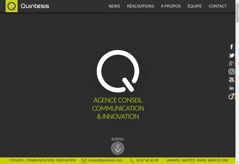 Capture d'écran du site de Quintesis