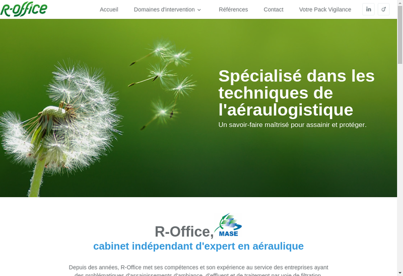 Capture d'écran du site de R Office
