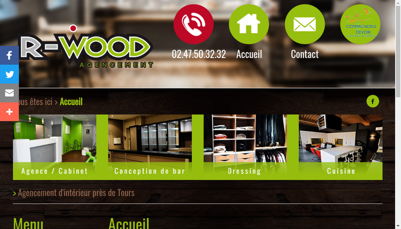 Capture d'écran du site de R-Wood Agencement
