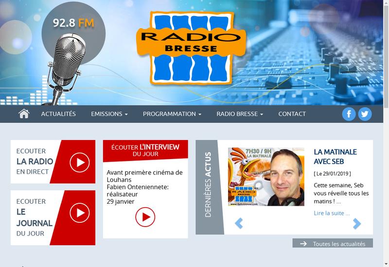 Capture d'écran du site de Radio Bresse