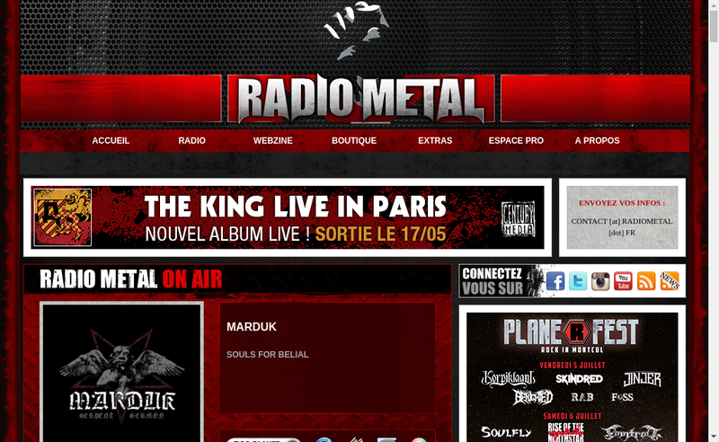 Capture d'écran du site de Radio Metal