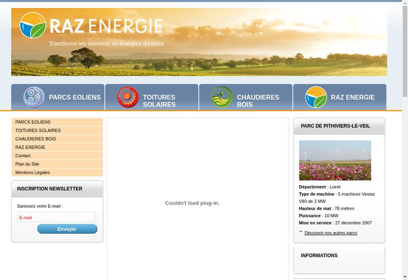 Capture d'écran du site de Raz Energie 6