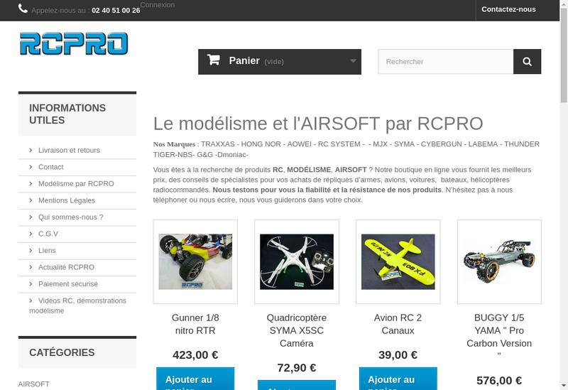 Capture d'écran du site de Rc Pro