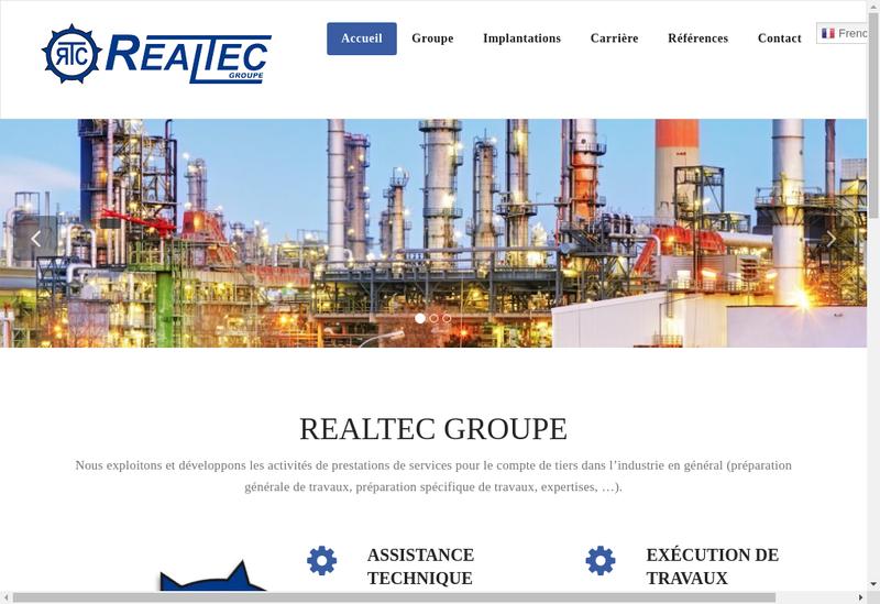 Capture d'écran du site de Realtec Groupe