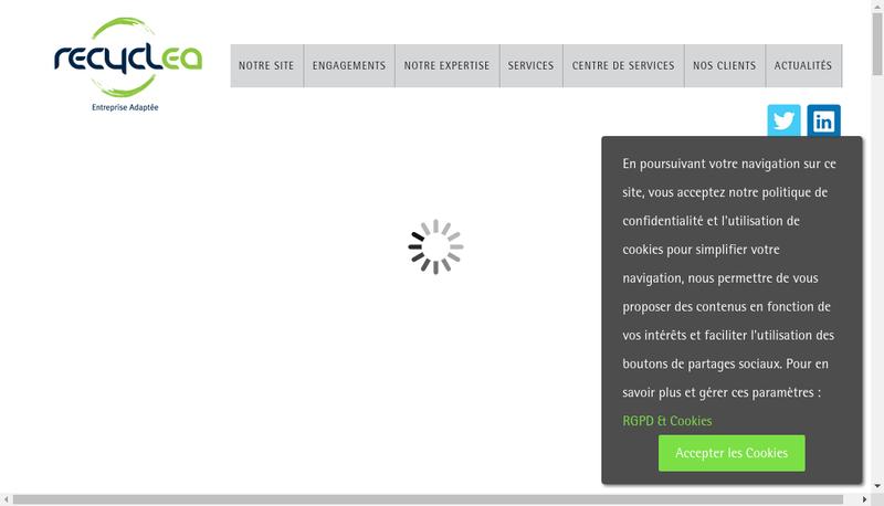 Capture d'écran du site de Recyclea