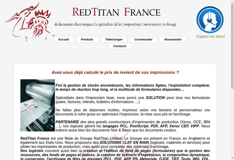 Capture d'écran du site de Redtitan France