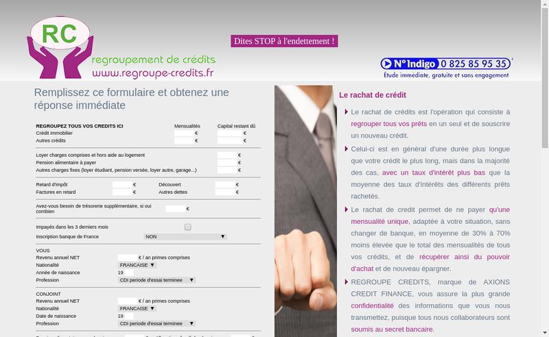 Capture d'écran du site de Axiome Finance