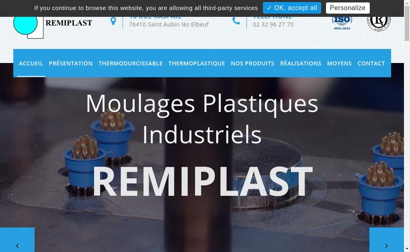 Capture d'écran du site de Remiplast