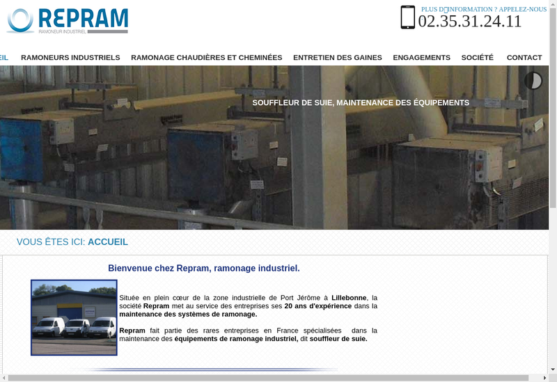 Capture d'écran du site de Repram