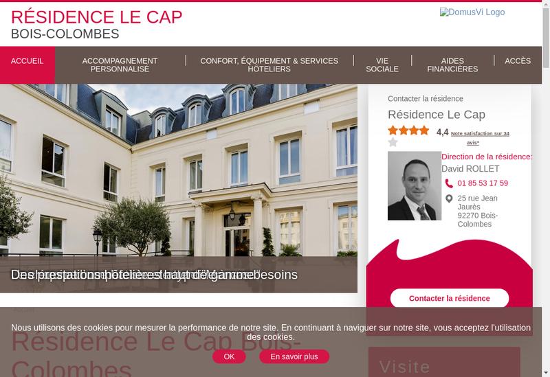 Capture d'écran du site de Residence du Cap