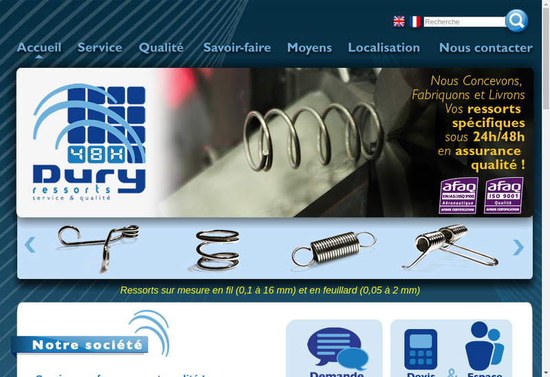 Capture d'écran du site de Ressorts Dury SA