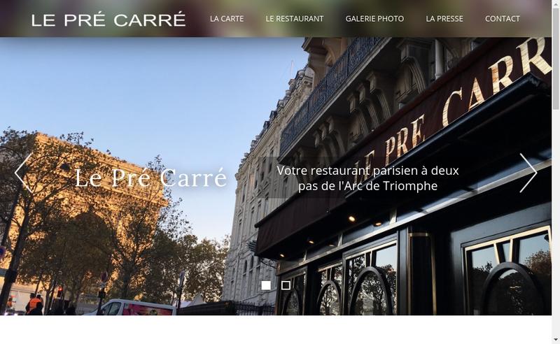 Capture d'écran du site de Le Pre Carre