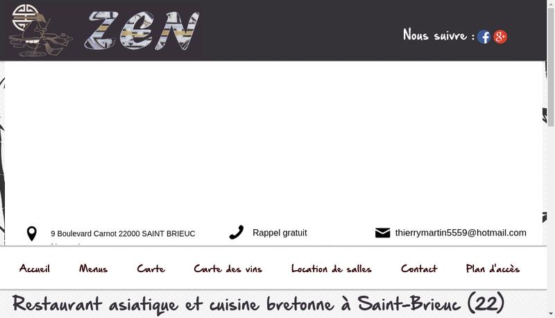 Capture d'écran du site de Restaurant Zen