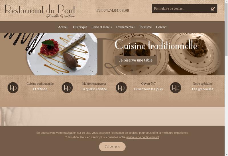 Capture d'écran du site de Restaurant du Pont