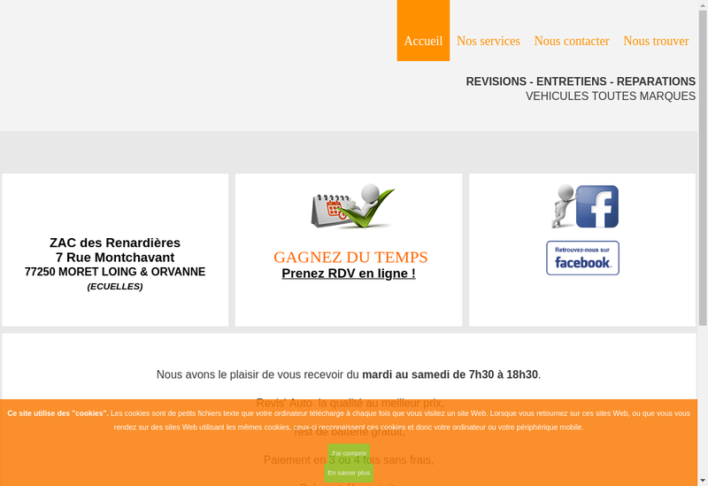 Capture d'écran du site de Revis' Auto